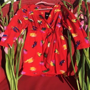 ASOS Mini Dress Colorful Red Artsy Girly NWT S